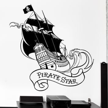 Wall Vinyl Decal Pirate Star Ship Yacht With Black Sail Ocean Home Interior Decor Unique Gift z4137