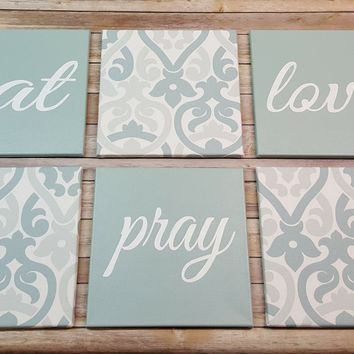 Eat Pray Love Sage Green & White Wall Art Pack of 6 Canvas Wall Hangings. Dining Room Decor. Kitchen Decor. Dining. Home Decor.