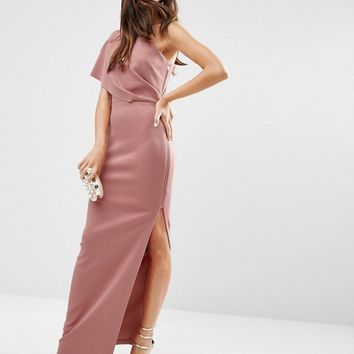 ASOS One Shoulder Scuba Deep Fold Maxi Dress With Exposed Zip at asos.com