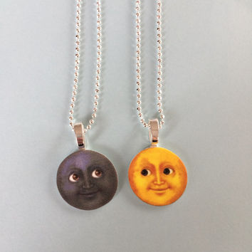 Moon Emoji BFF Necklace Set