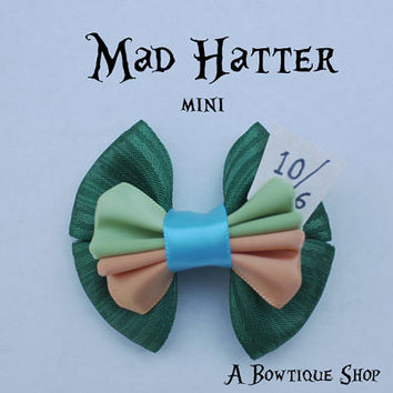 mad hatter mini hair bow