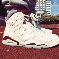 Air Jordan retro 6 MAROON INFRARED RED Basketball Shoes Athletics Shoes US5.5-13