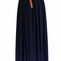 Midnight Blue Chiffon Maxi Skirt