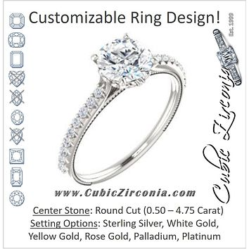 Cubic Zirconia Engagement Ring- The Delanie (Customizable Cathedral-set Round Cut Style with Thin Pavé Band, Inlaid Milgrain and Tiny Peekaboo Accents)