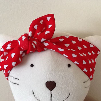 Cotton baby headband - White hearts on red headband, Top knot headband, Knot baby head wrap, Tie knot headwrap, Knotted headband