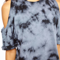 ASOS Petite | ASOS PETITE Shift Dress In Tie Dye With Cold Shoulder at ASOS