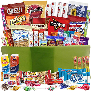 Care Package Gift Baskets with 52 Sweet and Salty Snacks - for College Students Gifts, Military Appreciation, Birthday Ideas - Send to Say Thank You, Congratulations, I Miss You, or Thinking of You