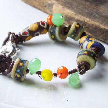 Etsy, Etsy Jewelry, Beaded Bracelet, African Trade Bead Bracelet, Tribal Braclet, Colorful Bracelet, Leather and Bead Bracelet