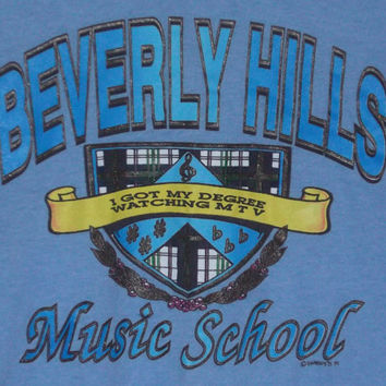 Vintage Screen Stars 50/50 t-shirt Beverly Hills Music School XL