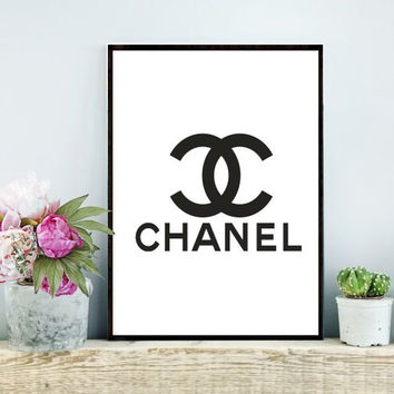 Printable, Chanel Logo, Fashion Print, Coco Chanel Print,   Coco Chanel Logo, Wall Decor, Instant  Download, Bedroom Decor