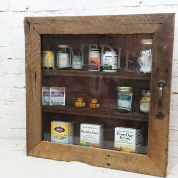 Rustic Barn wood Remedies cabinet bathroom or kitchen storage primitive shabby chic home decor medicine etched glass furniture