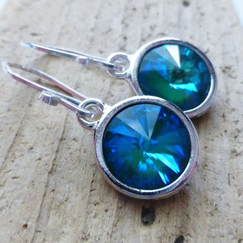 Teal Ocean Blue Prism Crystal Earrings, Crystal Rivoli Round Earrings, Sterling Silver Dangle Earrings, Mermaid Earrings, Aurora Borealis