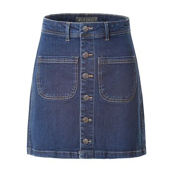 LE3NO Womens Casual Vintage Button Down A-Line Denim Skirt