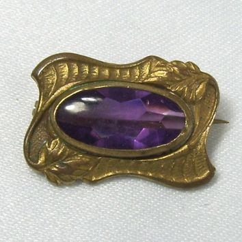 Antique Bar Pin Art Nouveau Goldtone Purple Rhinestone