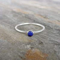 3mm Tiny Lapis Stacking Ring in Sterling Silver - Super Thin Micro Stacker with Blue Stone