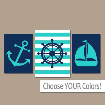 ANCHOR SAILBOAT Wall Art, CANVAS or Prints, Ocean Bathroom Decor, Navy Turquoise, Captain Wheel, Coastal Nautical Decor, Set of 3 Home Art