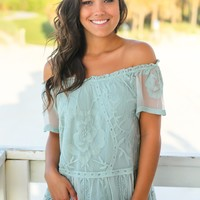 Sage Lace Off Shoulder Top