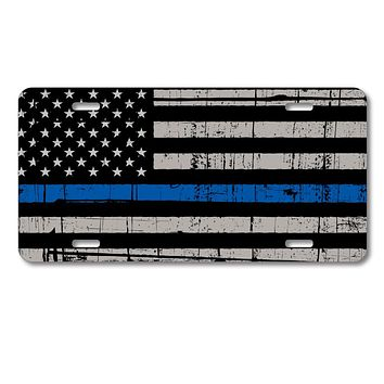 DistinctInk Custom Aluminum Decorative License Plate - Old Weathered Thin Blue Line US Flag Law Enforcement