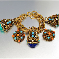 Vintage Charm Bracelet Glass Germany Gold Fob Victorian Revival 1950s Statement Jewelry
