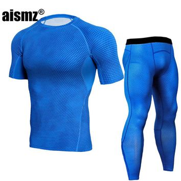Aismz tights for men crossfit Young wolf mma rash guard Men's tight-fitting clothing short-sleeved T-shirt + trousers kit