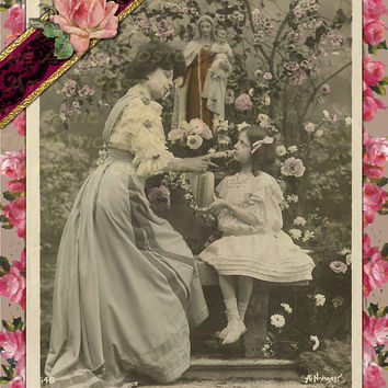 French Victorian Lady in Garden with Daughter Joshua 1:9 Be Courageous.. Card Vintage look Postcard Stationary Standard Size Set of 12 Cards
