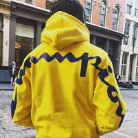 Champion Tide brand back print LOGO men and women models high quality thin hooded sweater Yellow