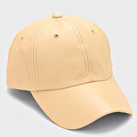 Faux Leather Pastel Weekend Baseball Hat - Khaki