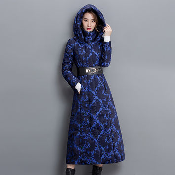 Anorak Manteau Femme 2016 New Long Over-the-knee Thicken Europe Lacing Slim Plus Size Hooded Winter Coat Overcoat Blue 3xl Coat