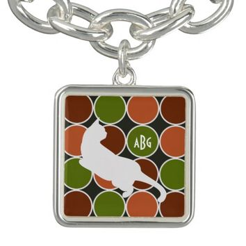 Playful Cat Monogram Fall Colors Modern Chic Charm Bracelet