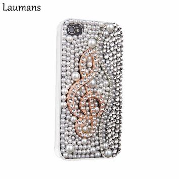 Laumans Phone Cases For Iphone Luxury 3D Piano Keys Musical Bling Crystal Cover