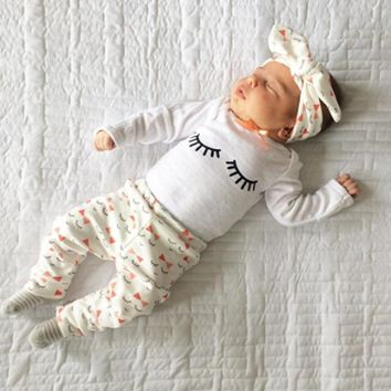 3Pcs/set! 2018 Autumn style infant clothes baby girls clothing sets cotton long sleeve t-shirt+pants+headband suit baby clothes