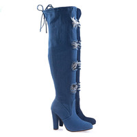 DasiaH8 Lt-Blue Denim By Forever Link, Distressed Jean Over Knee, Thigh High Boot w Torn Hole & Block Heel