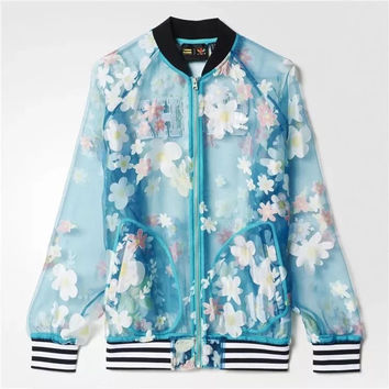 ADIDAS Fashion Women's sports gauze flower jacket