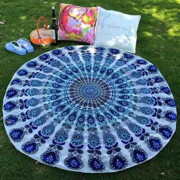 Round Peacock Feather & Flower Tapestry in 3 Colors