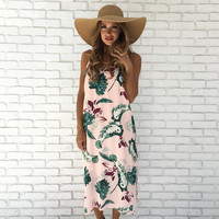 Palms & Bloom Floral Ankle Maxi Dress