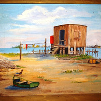 Vintage 1970's Nautical Oil Painting, Signed Ragone, Love Shack, Fishing Boat, Seashore Beach Retro 70's original Artwork authentic art