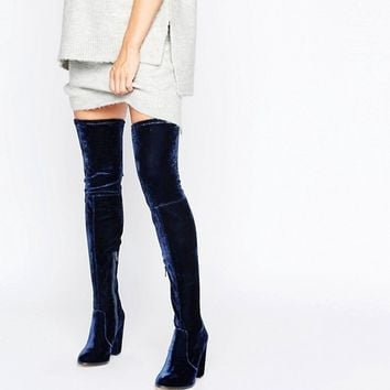 ASOS KINGDOM Velvet Heeled Over The Knee Boots at asos.com