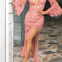 Pink Plain Lace Cut Out Plunging Neckline Fashion Maxi Dress