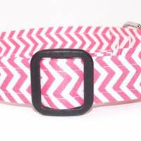 Chevron Dog Collar Pink and White