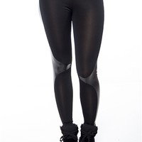 Leggings with Side Leather Panels - Black