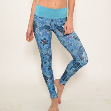 Ana Zabella Blue Waist Floral Print Yoga Pant (with pocket)