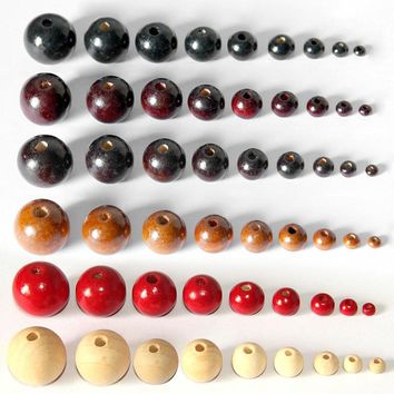 100Pcs/lot Black Red Natural Color Round Wood Beads Handmade Wooden Loose Bead for Necklace Bracelet Jewelry Making