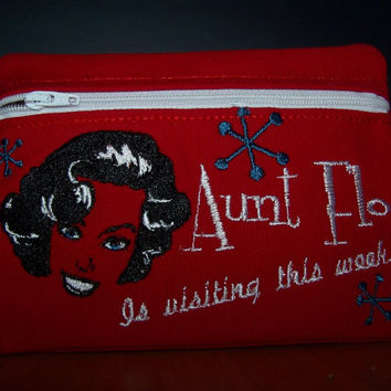 Aunt Flo is Visiting / Tampon & Maxi Pad Taxi  Zippered Fabric Purse Pouch / Sanitary Napkin Keeper