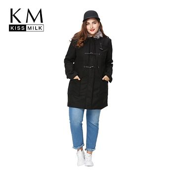 Kissmilk Plus Size Women Clothing Basic Preppy Style Outwear Long Sleeve Toggle Winter Warm Hooded Big Size Jacket 4XL 5XL 6XL