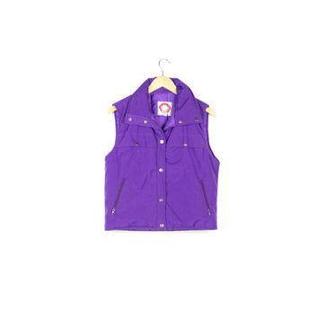 90s purple hiking vest / puffer down vest / vintage / 80s 90s / vivid / bold / solid color / ski / outdoors / club / festival / mens small