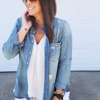 Distressed Out Blue Jean Button Up