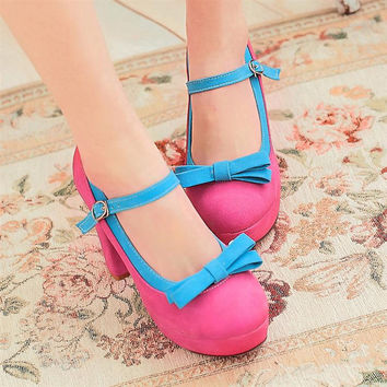Sweet Princess High Heels Lovely Bowknot Color Matching Shoes
