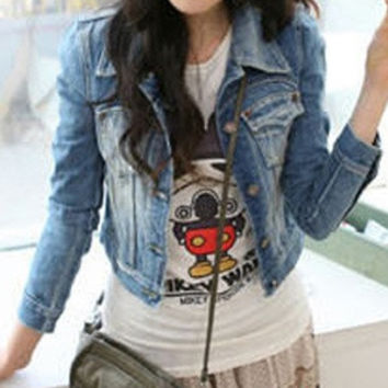 fashion hot  Summerland size S,M and L Casual style New Spring Whiten Frayed Denim Outerwear Blue short Jeans  Jacket Coat = 1930370052