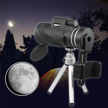 40X60 HD Night Vision Outdoor Camping Hiking Monocular Telescope Telephone Camera Lens+Phone Clamp+Tripod For Mobile Phones