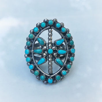 Vintage Native American Blue Turquoise Ring, Southwestern handmade jewelry, vintage turquoise ring